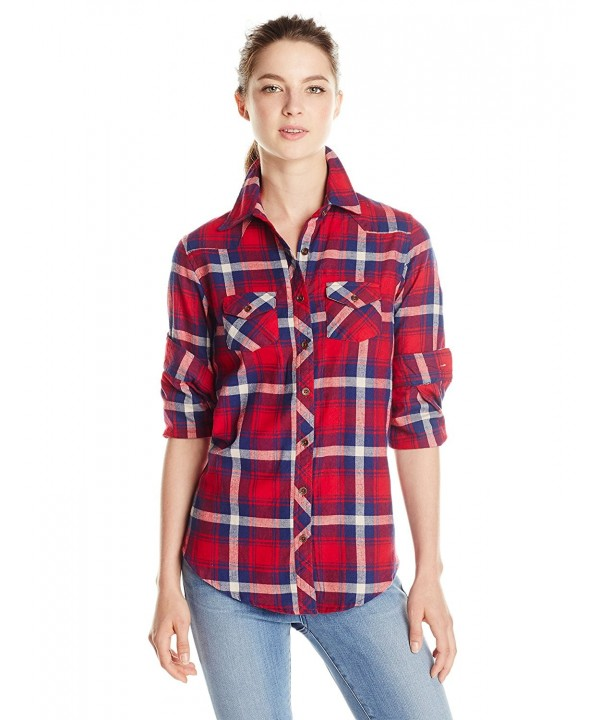 Angie Juniors Plaid Button Down Medium