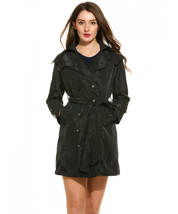 Zeagoo Women Double Breasted Trench