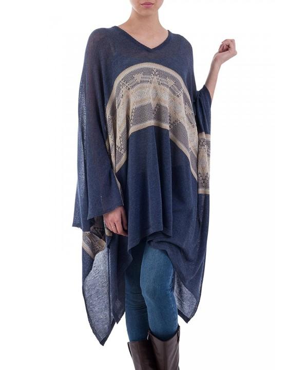 NOVICA Cotton Blend Striped Poncho