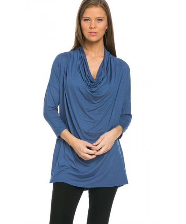 2LUV Womens Sleeve Draped Indigo