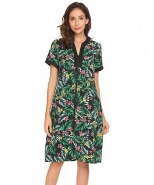 Ekouaer Sleepshirt Womens Zipper Loundewear