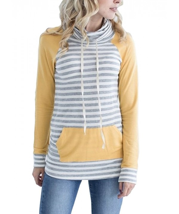 MEROKEETY Womens Striped Sweatshirt Kangaroo