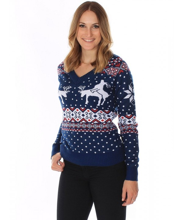 Women S Ugly Christmas Sweater Reindeer Climax Sweater Blue By Cm11ltg6c2l