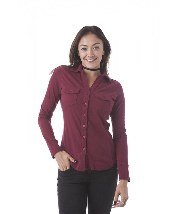 Sleeve Button Ribbed Small Burgundy