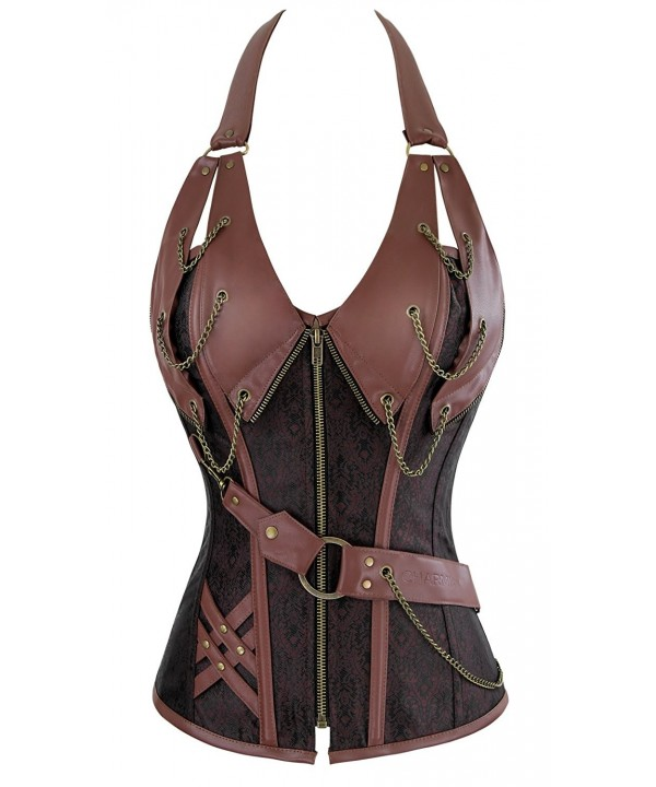 Charmian Steampunk Leather Heavy Strong Steel Halter Brown XX Large