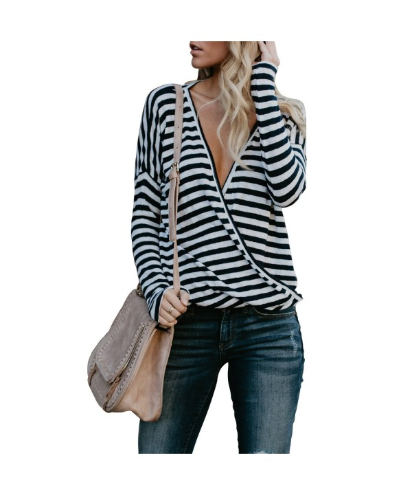 Womens V Neck Sleeve Striped T Shirt
