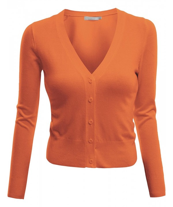 Doublju Length Knit Cardigan ORANGE
