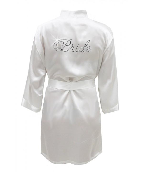 Satin Bride Robe Rhinestones Bridal