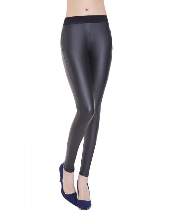 Everbellus Black Leather Leggings Stretch