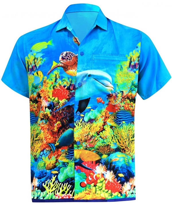 aa8d4291 ... Men's Aloha Hawaiian Shirt Short Sleeve Button Down Casual Beach Party  - Aqua blue - CE12O783KNU. On sale! New. Leela Hawaiian Tropical Casual  Sleeves