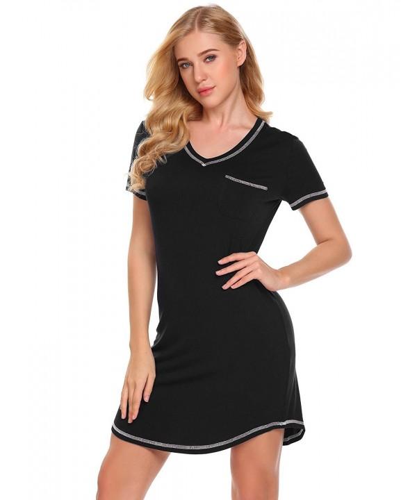 Langle Cotton V Neck Sleepwear Nightshirt