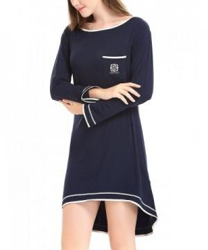 f58dc5d9d0 Women Long Sleeve Pajama Top Irregular Hem Sleep Shirt Dress (XS-XL ...