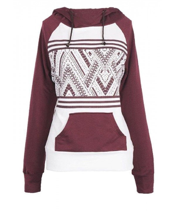 Comfy Patterned Drawstring Sweatshirts Pullover
