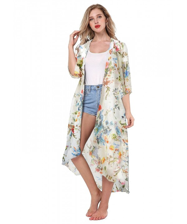 Womens Kimono Floral Chiffon Cardigan