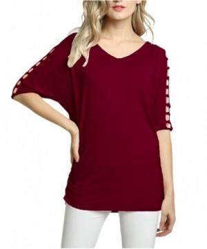 Afibi Womens Shoulder Batwing Burgundy