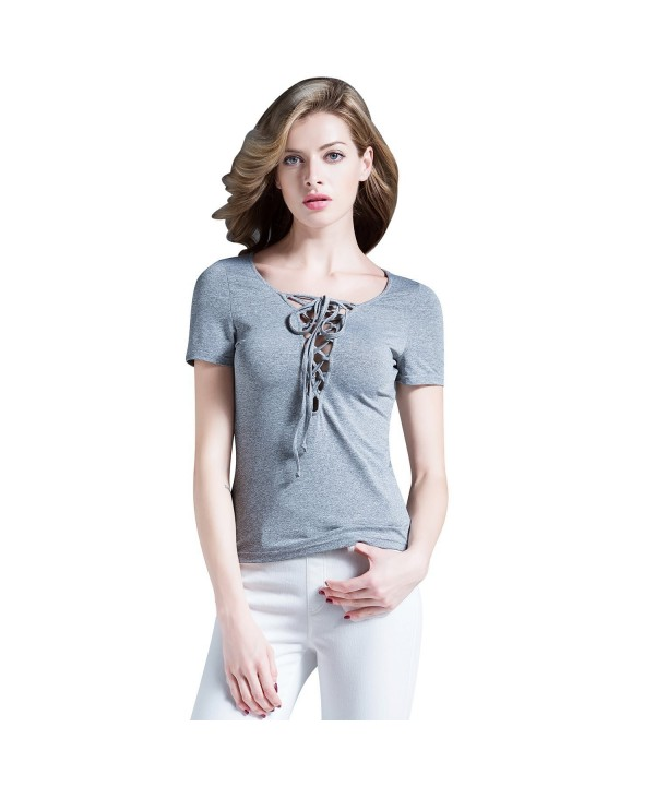 Womens Bandage Plain Sleeve Blouse
