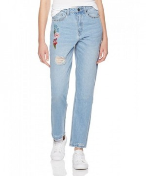 Lily Parker Womens Embroidered Destroyed