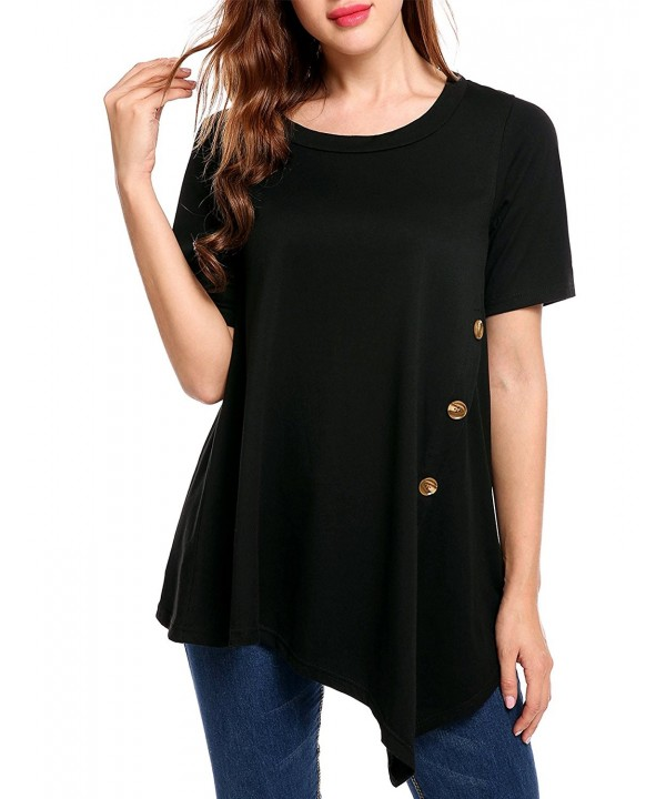 Meaneor Womens Asymmetrical Pleated T Shirt