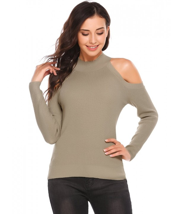 Zeagoo Shoulder Knitted Sweater Pullover