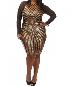 Plus Size Diamond Pattern Sequined Cocktail