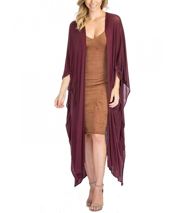 Luna Flower Cardigan Asymmetrical Burgundy