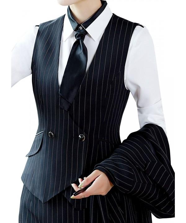 Vocni V Neck Waistcoat 1_black Pinstripe