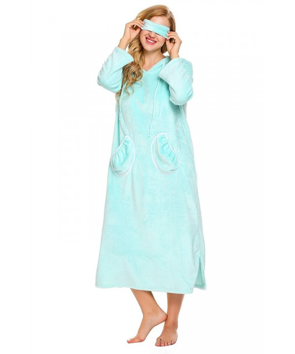 Ekouaer Flannel Sleepwear Homewear Nightgown
