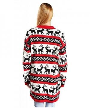 2a9e3c2ebf4 Womens Oversized Christmas Reindeer Cardigan - Red Reindeer Cardigan -  C4124V9U3E5