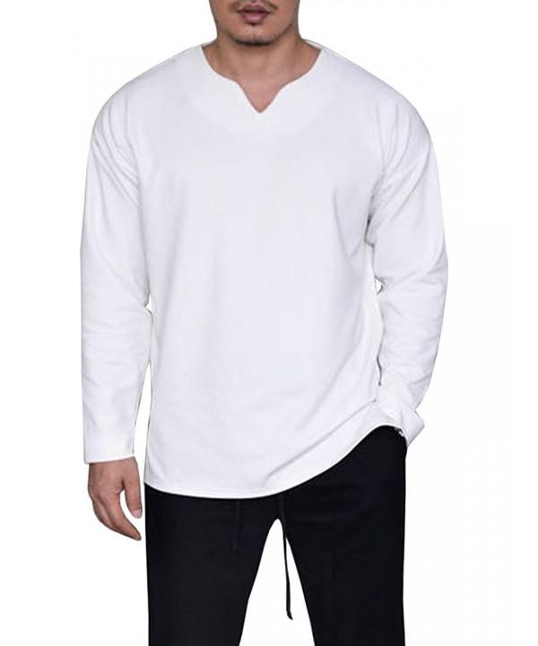 632242c5d3d4 Mens Casual Basic Loose Fit V Neck Long Sleeve Split Side T-Shirt ...