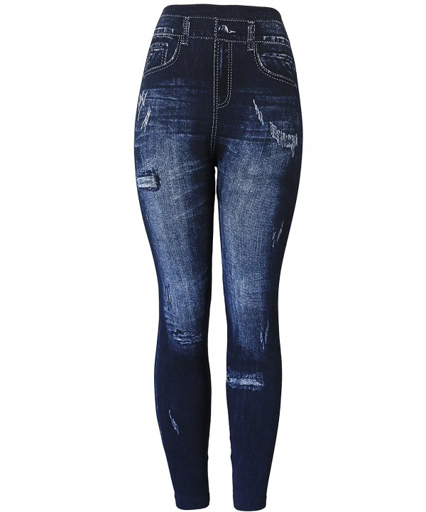 KMystic Womens Denim Leggings Ripped