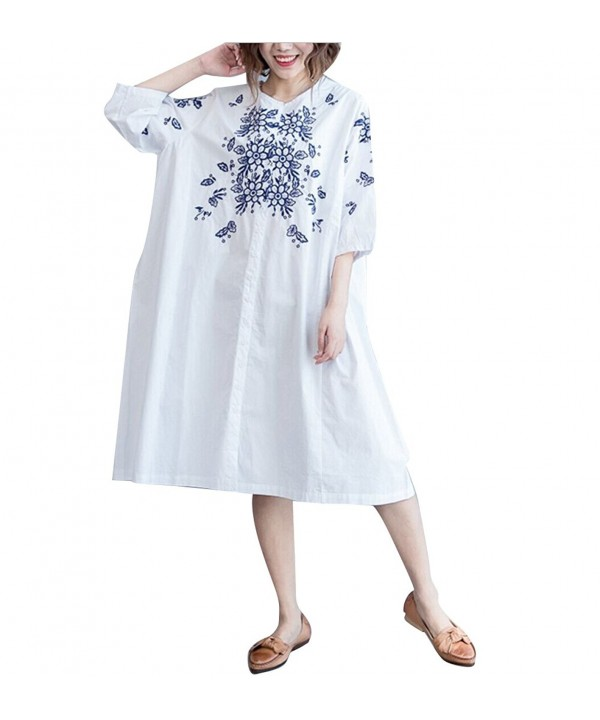 Womens Button Down Blouses Shirts Embroidery