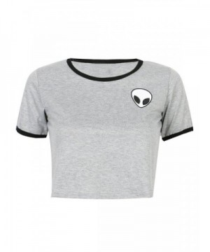 PERSUN Womens Cropped Ringer T Shirt