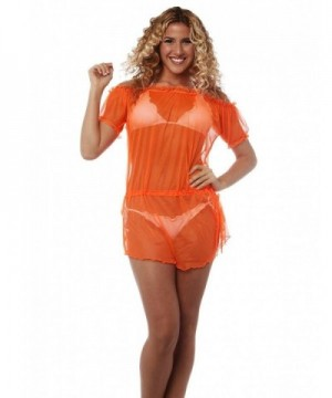 Womens Beach Cover Up Swimsuit Orange