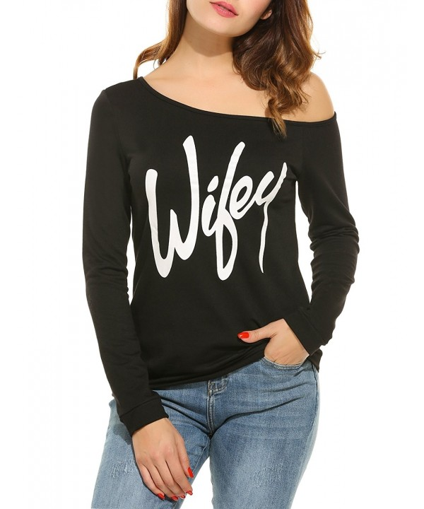 ACEVOG Sweatshirt Slouchy Pullover Shoulder
