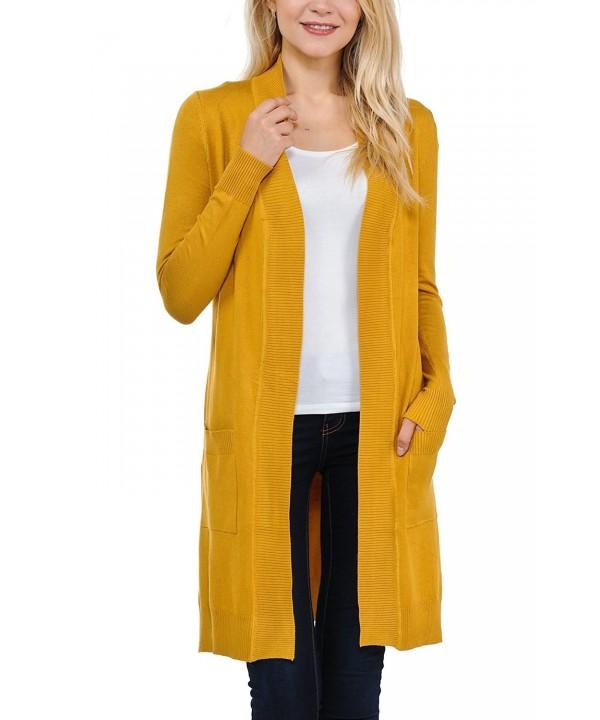 JNTOP Womens Sleeve Cardigan Mustard