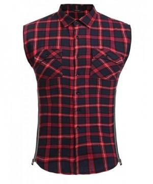COOFANDY Casual Flannel Sleeveless Zipper