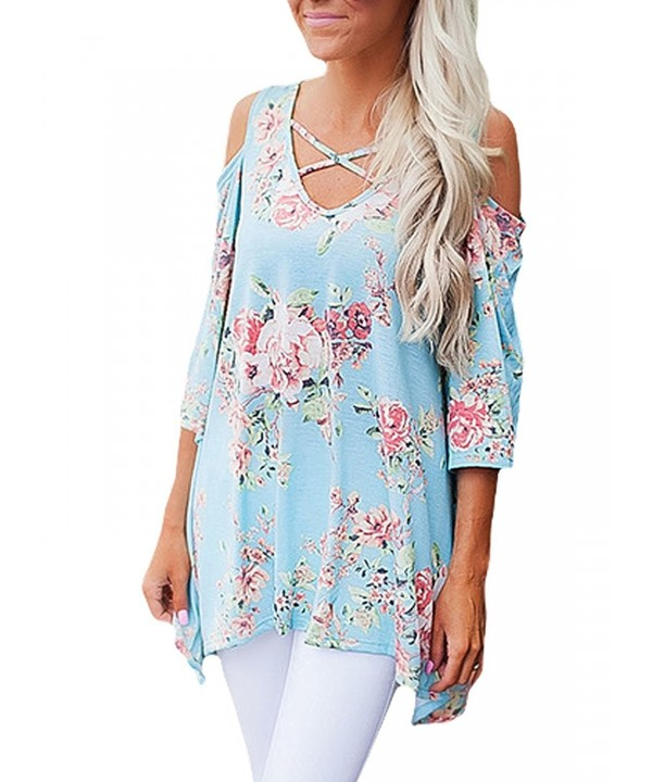 Shoulder Blouses Sleeves Floral Strappy