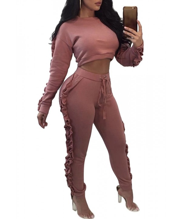 Women Casual Ruffle Tracksuit Sleeve