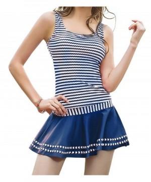 DANIFY Racerback Tankini Striped Swimsuit