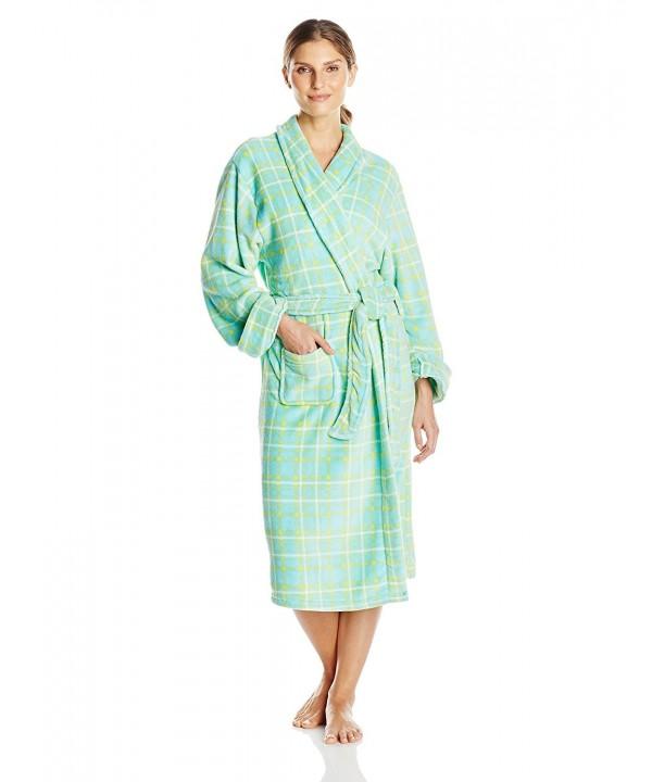 d634e7bab4d7 Women s Plush Robe - Green Plaid - CE123J6JM1V