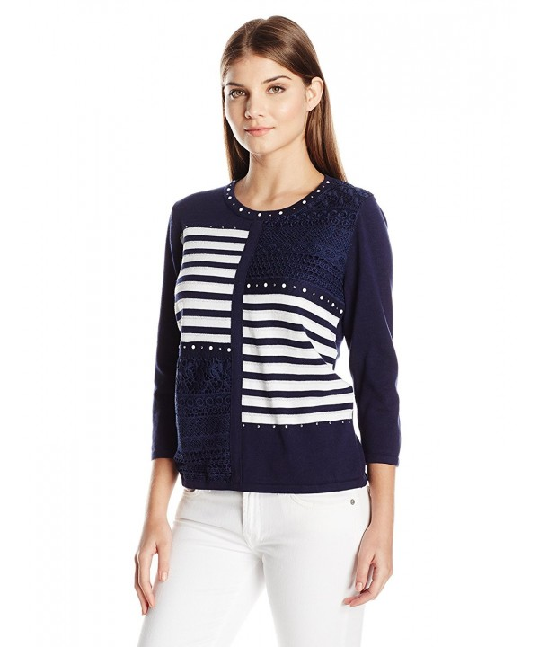 Alfred Dunner Womens Stripe Sweater