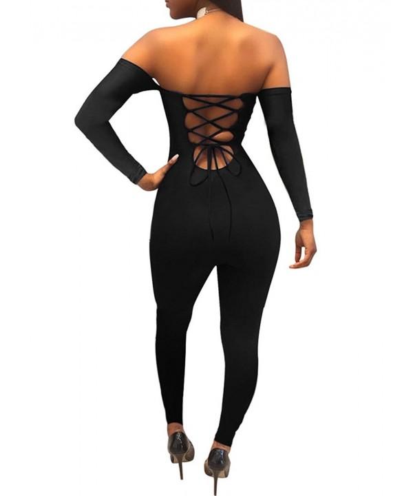TOB Womens Shoulder Backless Jumpsuit