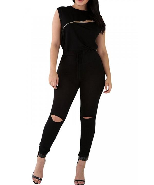 Womens Sleeveless Broken Bodycon Jumpsuit