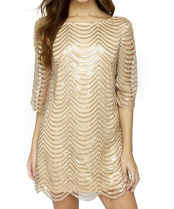Joeoy Womens Metallic Sequins Scallop