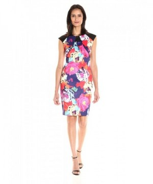 Sangria Womens Sleeve Floral Sheath