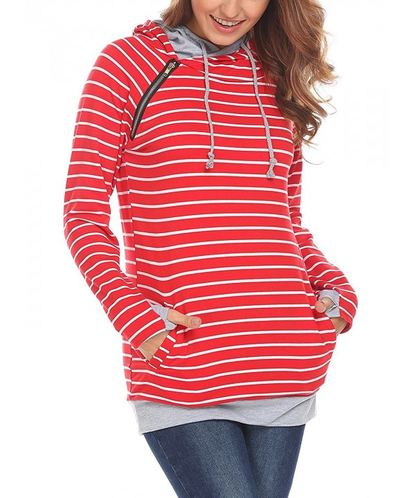 Womens Double Sweatshirt Pockets Pullover