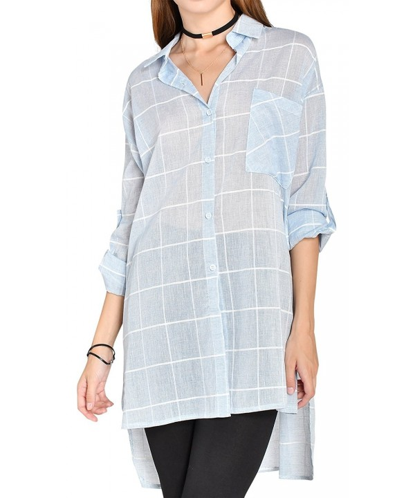 ililily Windowpane Longline Lightweight Semi Sheer