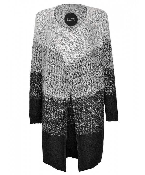 ZLYC Knitted Cardigan Gradient Sweater