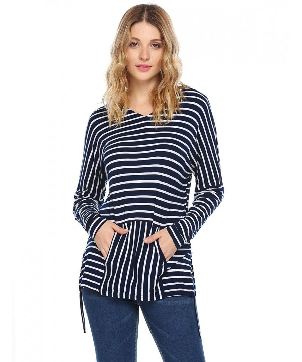 Zeagoo Pocketed Striped Pattern Sweatshirt