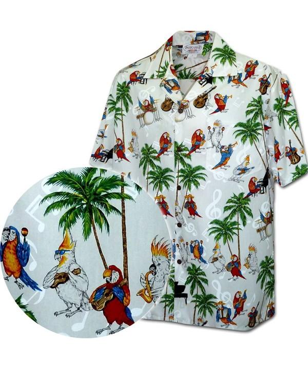 Musical Parrots Mens Tropical Shirt 3926 WHITE L